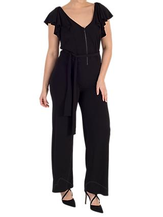 Chesca Frill Trim Jersey Jumpsuit, Black
