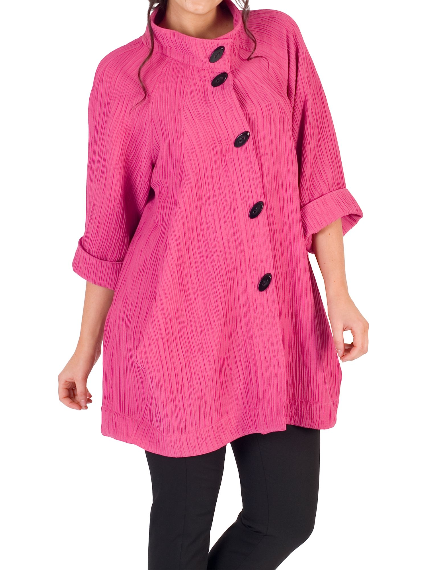 Chesca Chesca Textured Jacquard Coat, Rose Pink