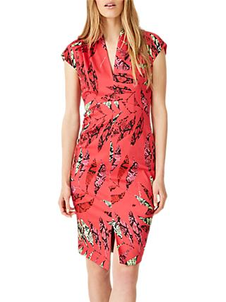 Damsel in a Dress Bria Snake Palm Print Dress, Coral/Multi