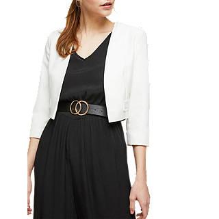 Miss Selfridge Pom Pom Trim Jacket, White