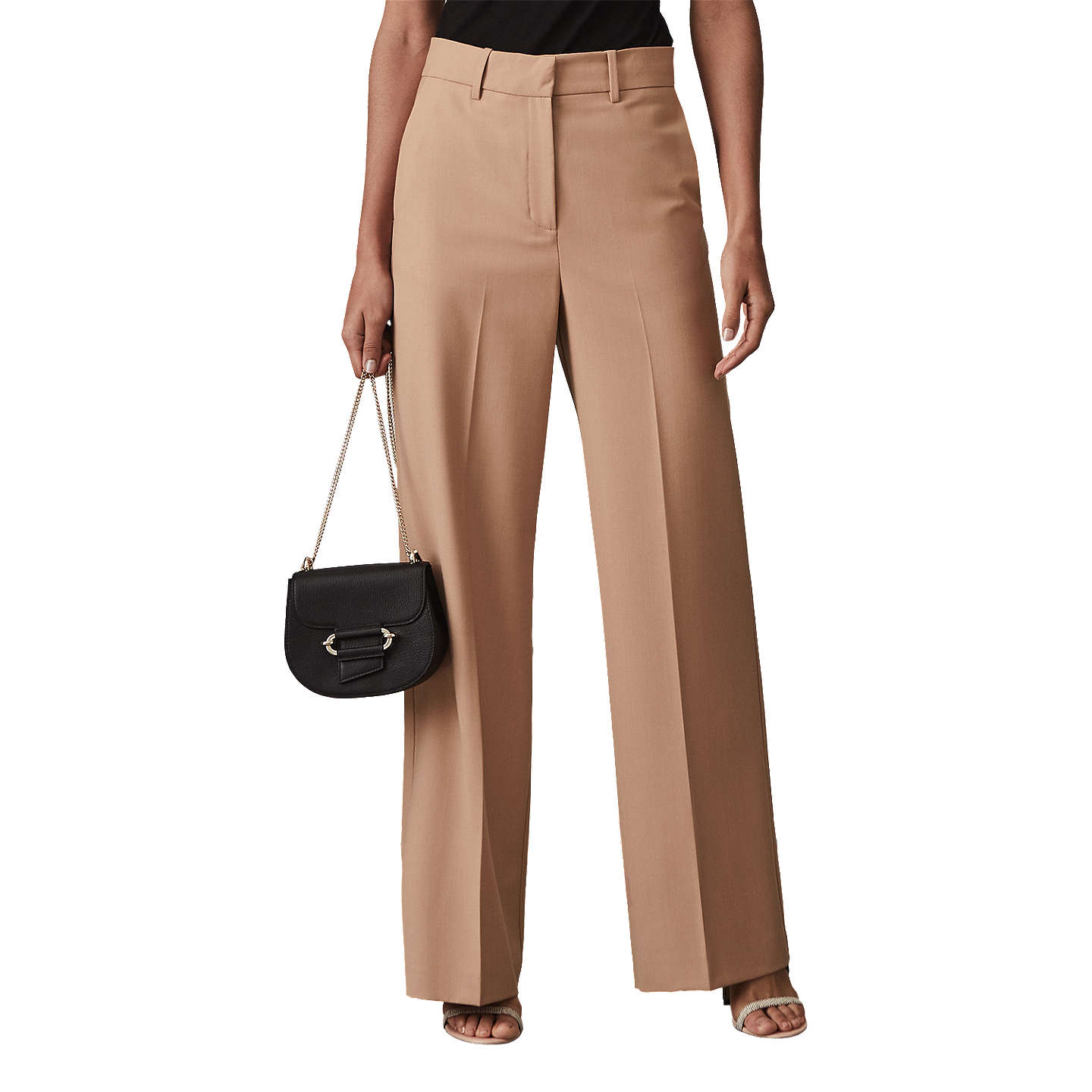 Anakin - Wide Leg Trousers in Apricot, Womens, Size 10 Reiss