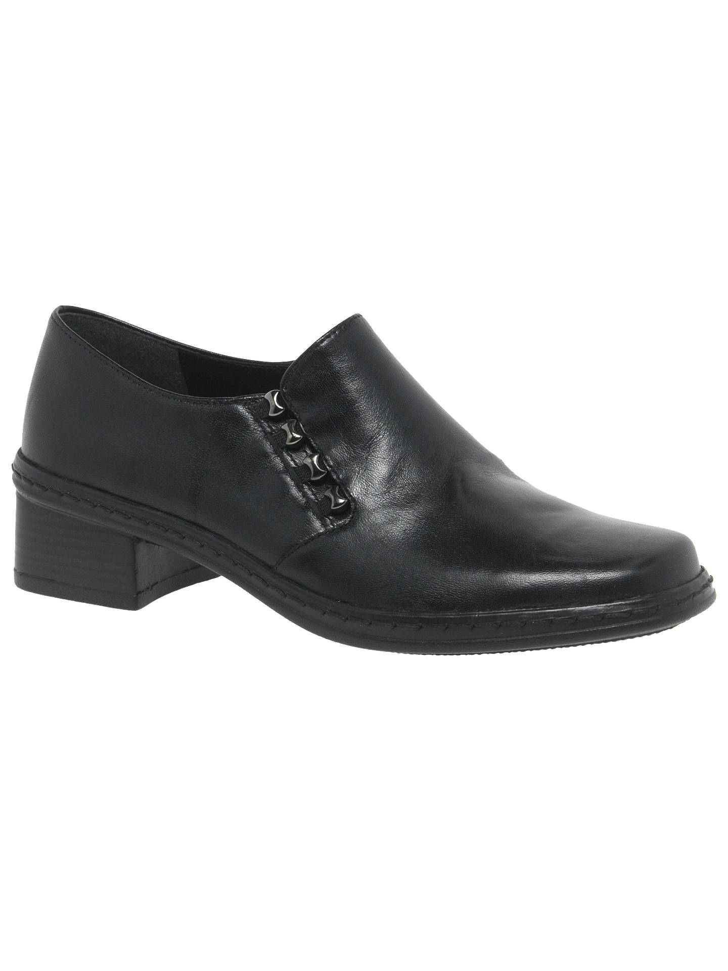 15a37fac7658f Buy Gabor Hertha Low Block Heel Leather Loafers, Black Leather, 3 Online at  johnlewis ...