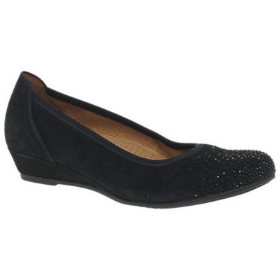 Gabor Arya Wide Fit Low Wedge Court Shoes