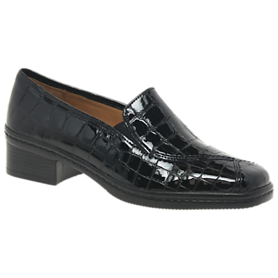 Gabor Frith Extra Wide Block Heel Loafers, Black Leather Croc