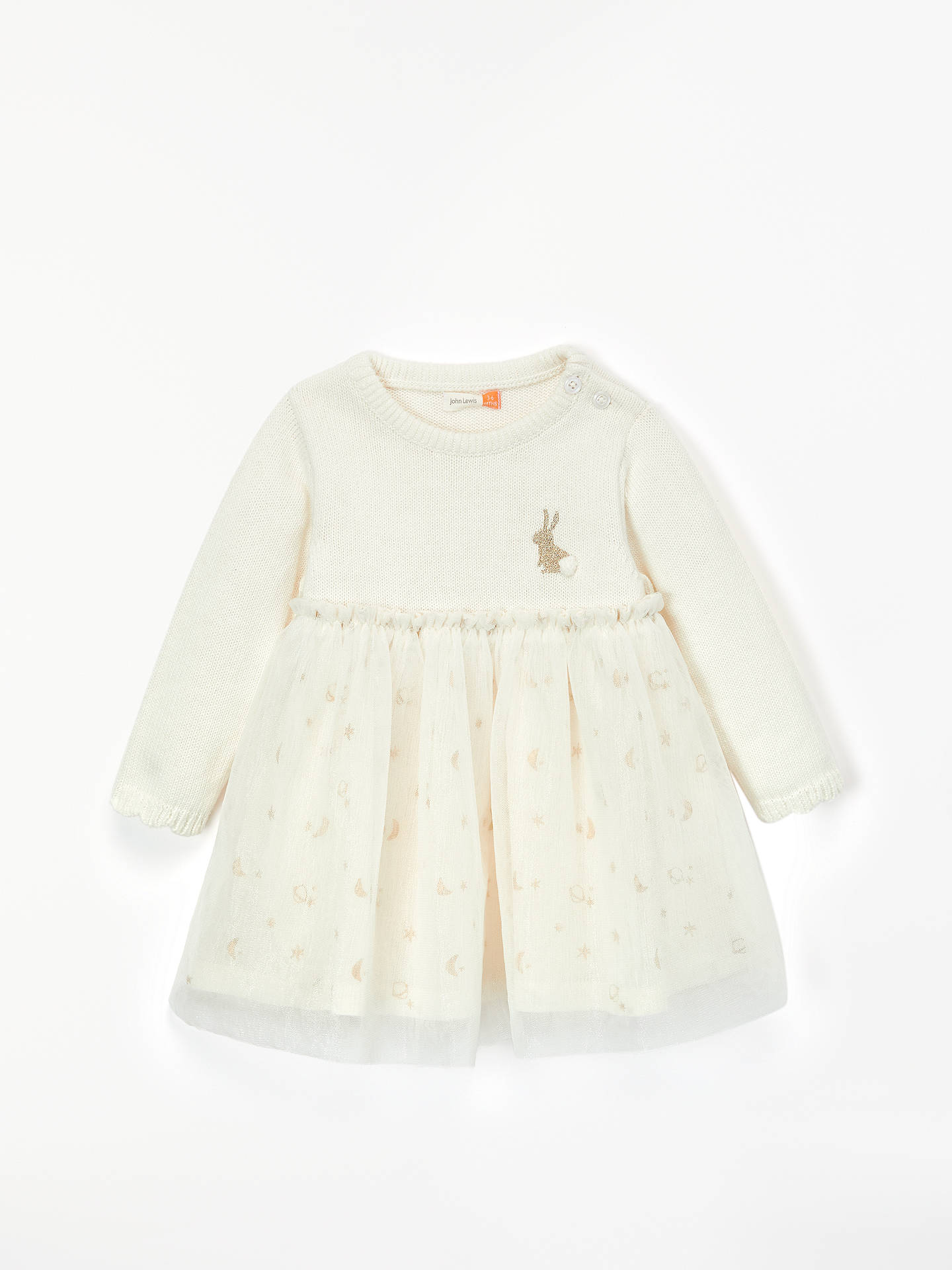 4120e561a7c Buy John Lewis & Partners Baby Stars and Moons Tulle Knit Dress, Cream, 0  ...