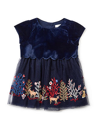 Buy John Lewis & Partners Baby Velour Embroidered Party Dress, Navy, 0-3 months Online at johnlewis.com