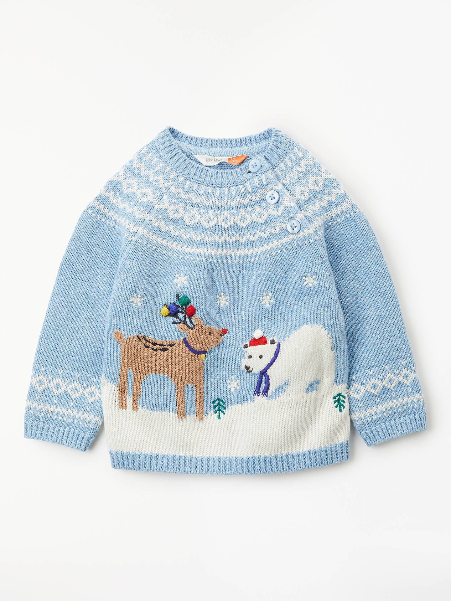BuyJohn Lewis Baby Reindeer and Polar Bear Christmas Jumper a3d7e82f6