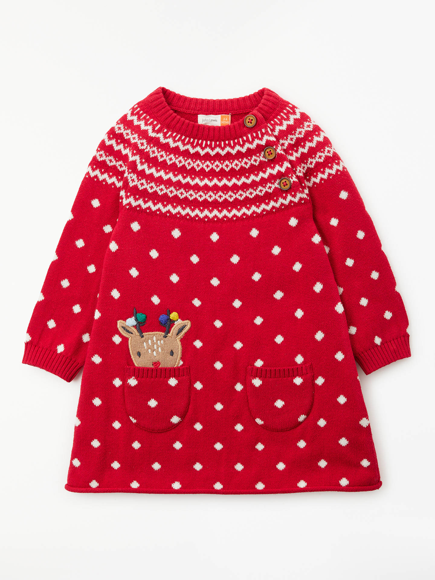 John Lewis & Partners Baby Christmas Reindeer Knit Dress, Red at