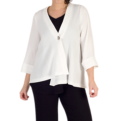 Chesca Asymmetric Textured Jacket, Ivory