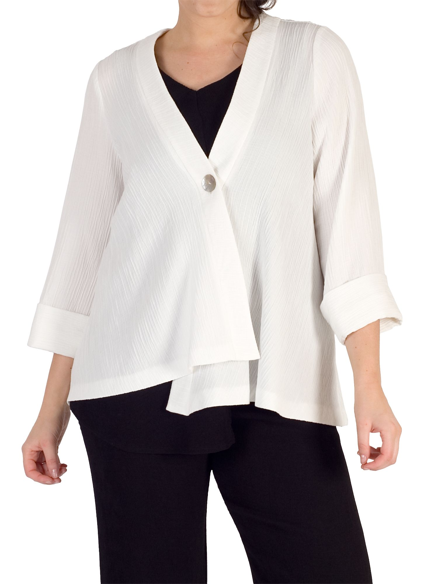 Chesca Chesca Asymmetric Textured Jacket, Ivory