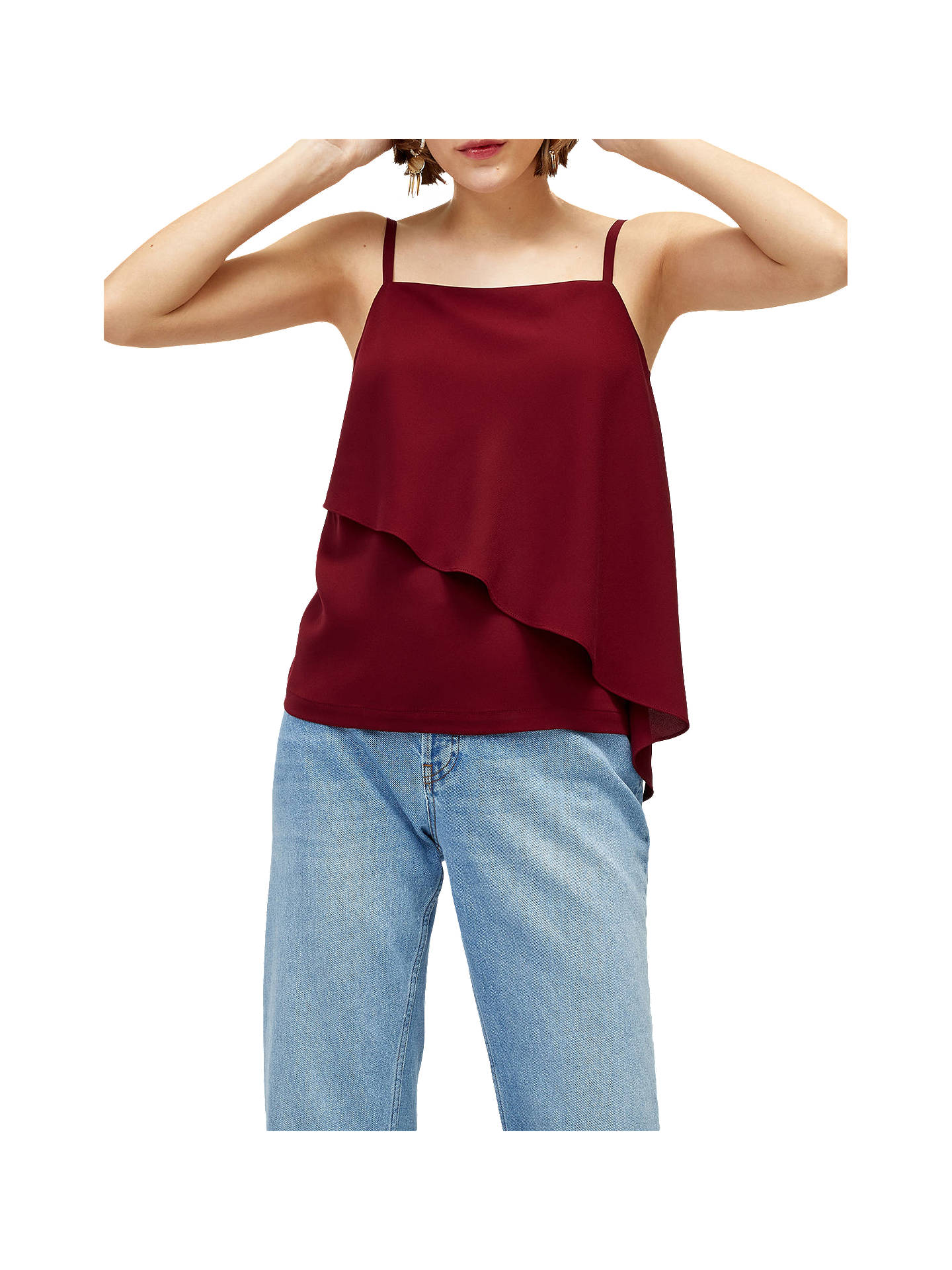 BuyWarehouse Asymmetric Woven Mix Cami, Dark Red, 6 Online at johnlewis.com