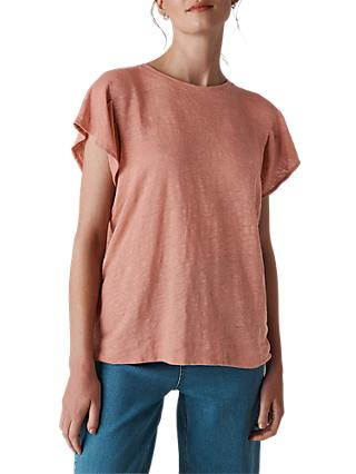 Whistles Linen Frill Sleeve Top, Dusty Pink