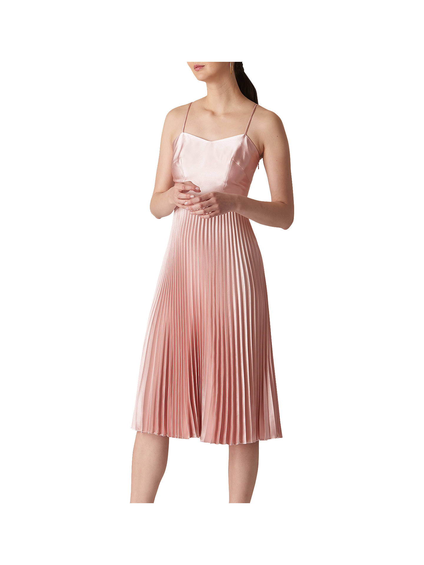 7e358f852b Buy Whistles Satin Pleated Strappy Dress, Pale Pink, 16 Online at  johnlewis.com ...