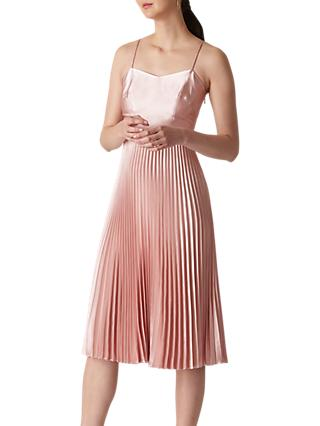 Whistles Satin Pleated Strappy Dress, Pale Pink