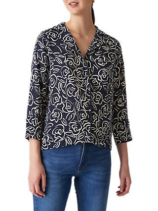 Whistles Rose Print Pyjama Style Shirt, Black/Multi