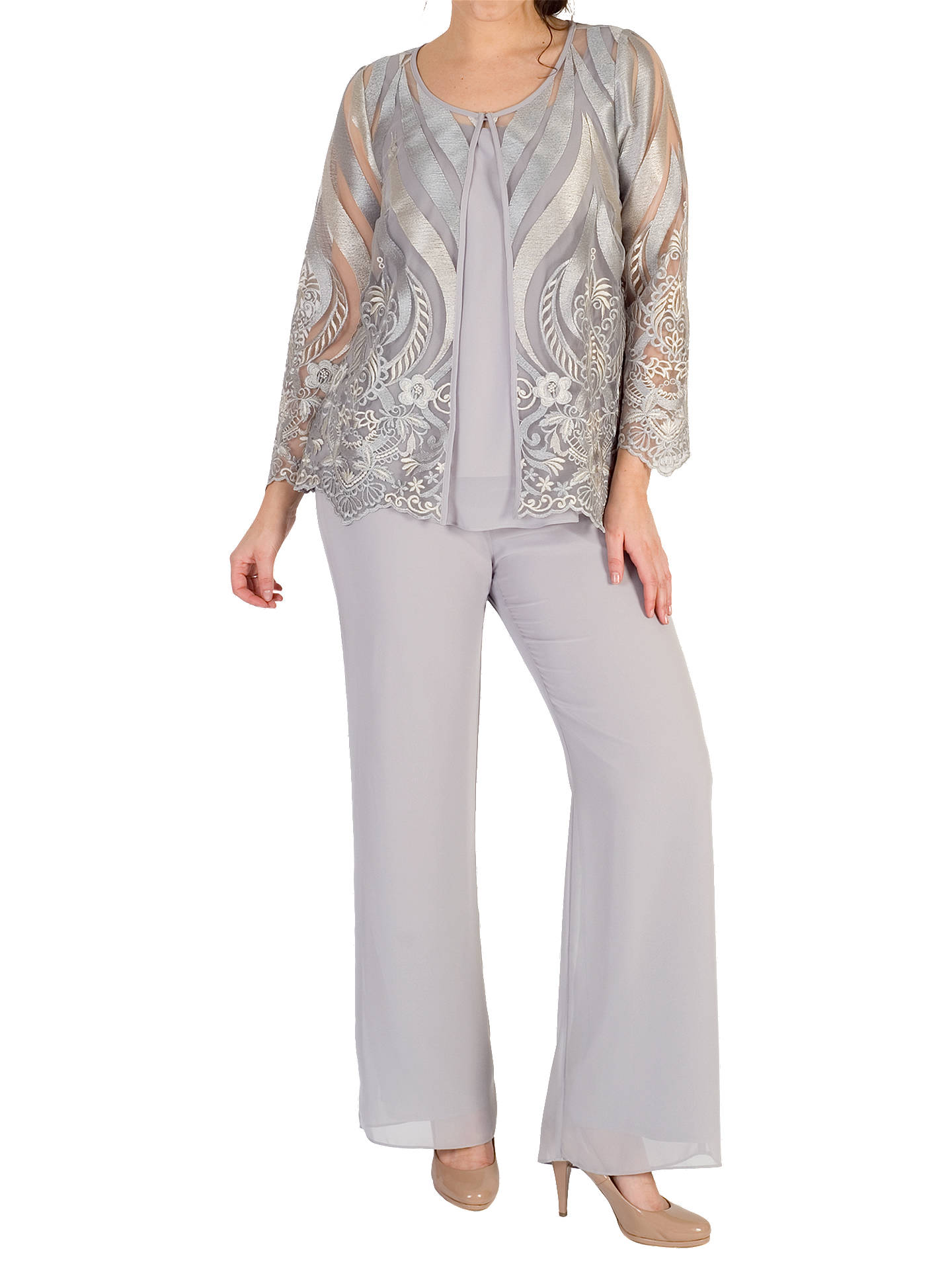 BuyChesca Embroidered Mesh Jacket, Soft Grey, 12 Online at johnlewis.com