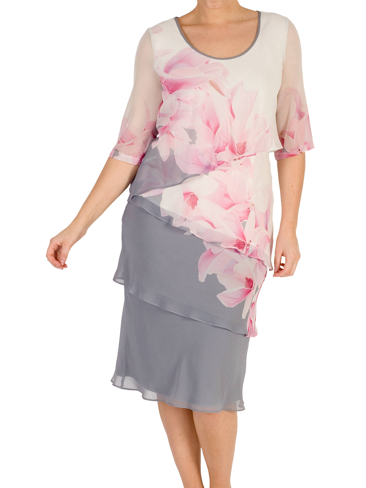 84ff0c657113 Buy Chesca Layered Chiffon Dress, Grey/Pink, 18 Online at johnlewis.com ...