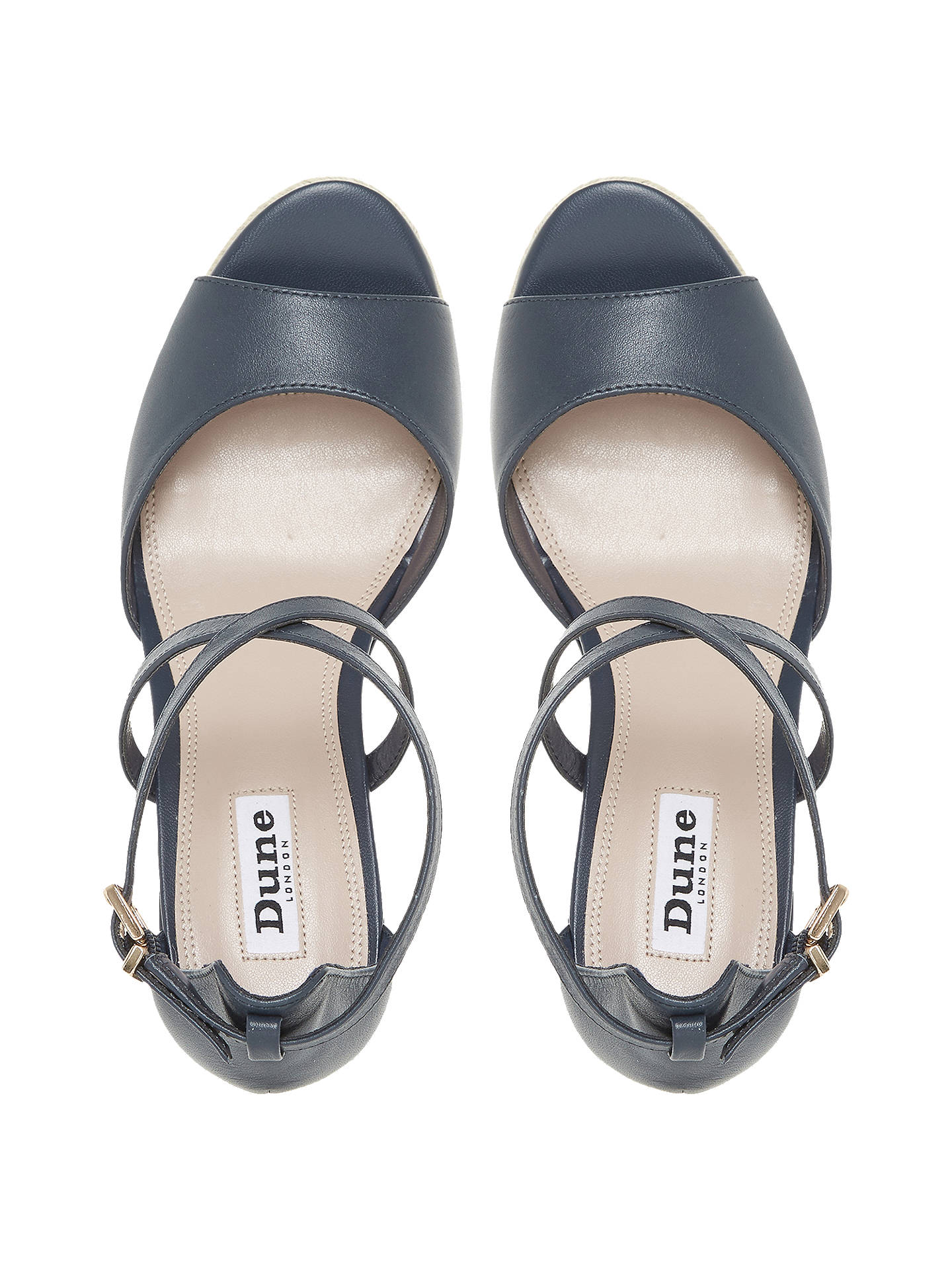 52fcf5d964c63 Buy Dune Kestrel Cross Strap Wedge Sandals, Navy Leather, 3 Online at  johnlewis.