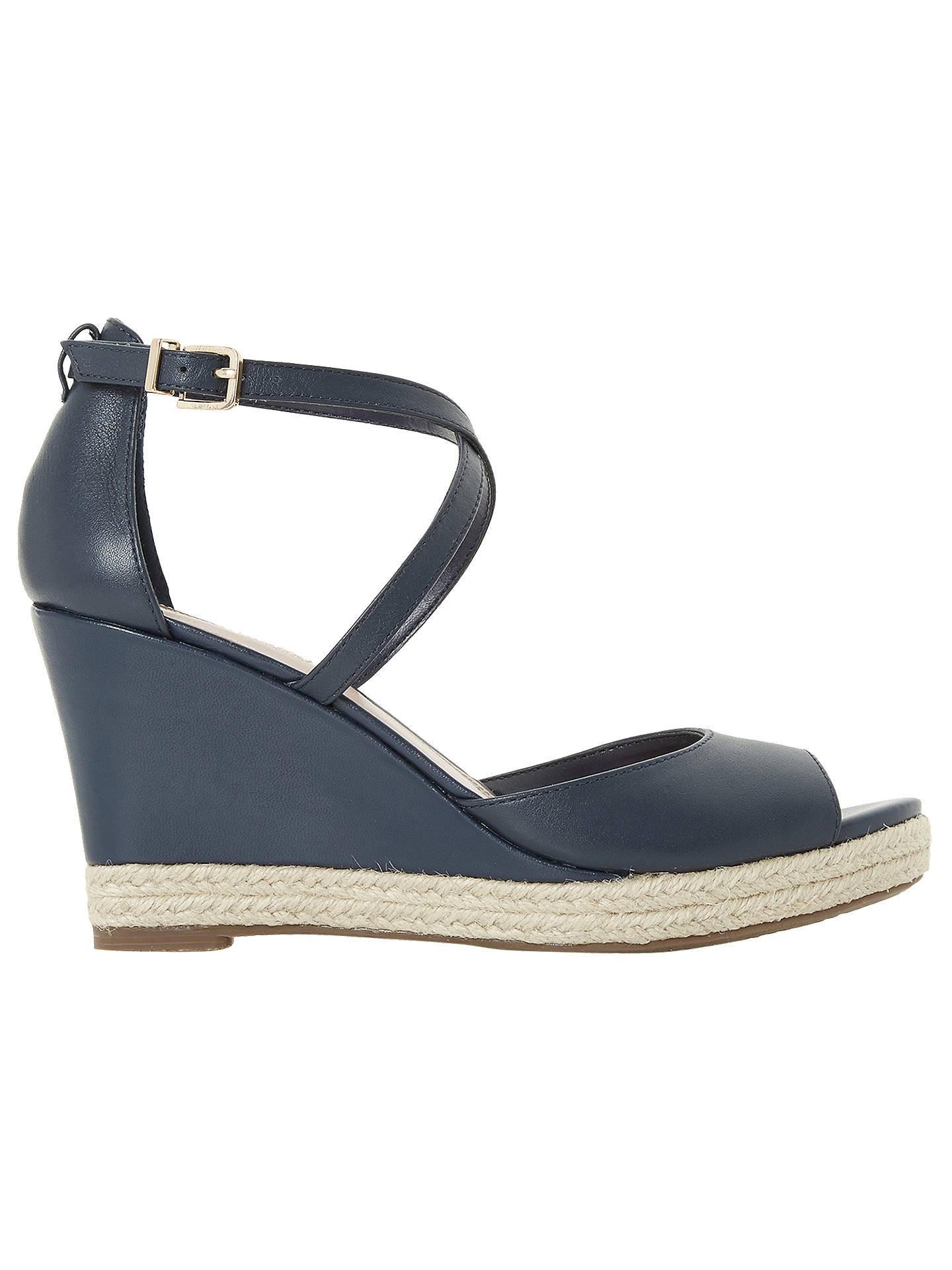 f218b0bd8 Buy Dune Kestrel Cross Strap Wedge Sandals, Navy Leather, 3 Online at  johnlewis.