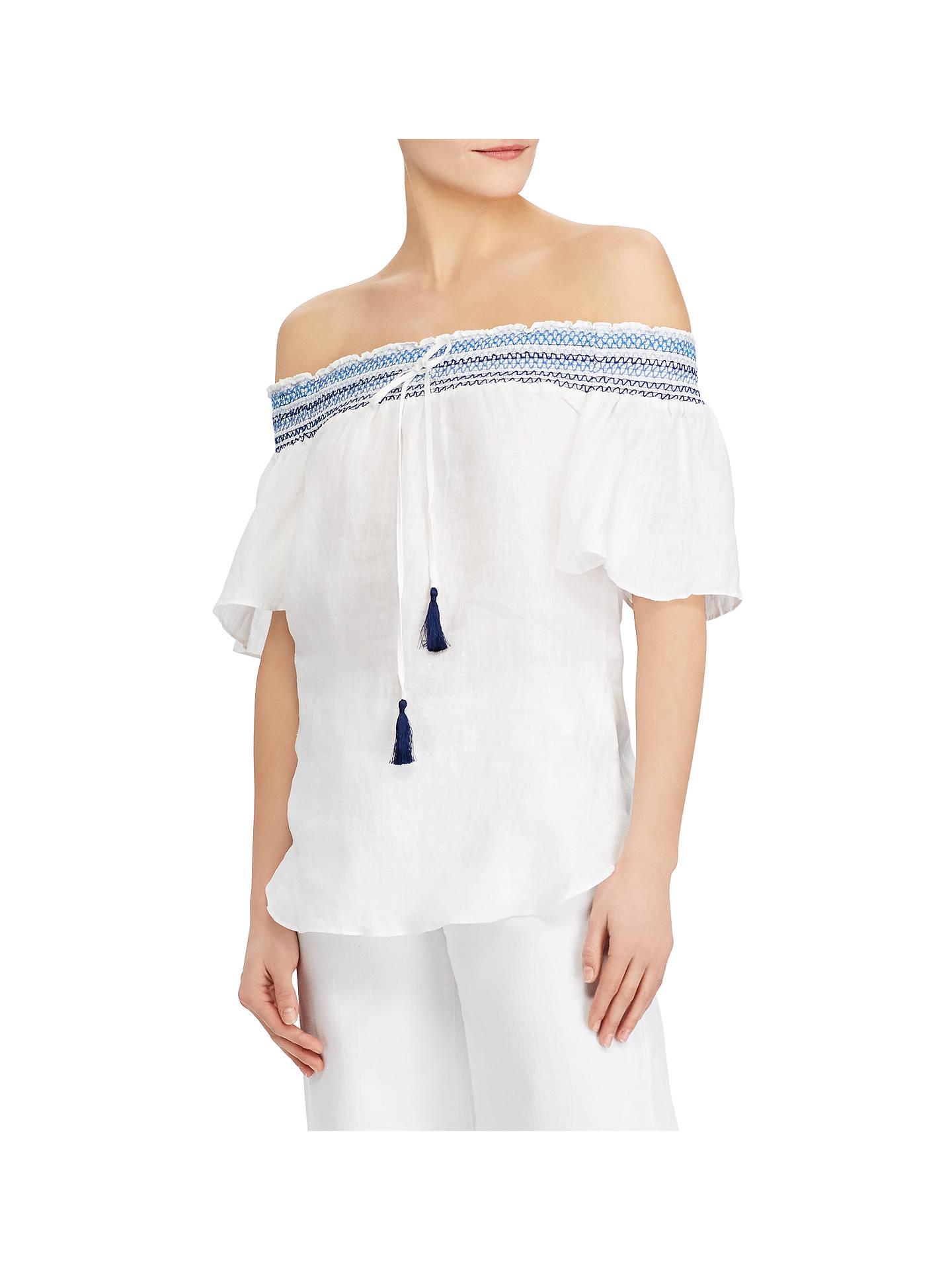 ab438eef0ef Buy Lauren Ralph Lauren Linen Off The Shoulder Top, White, L Online at  johnlewis ...