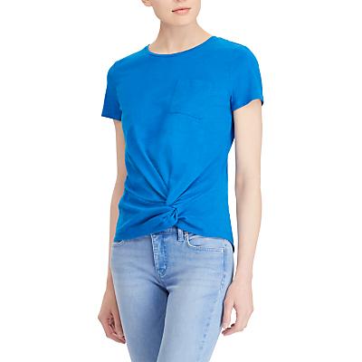 Lauren Ralph Lauren Daharlyn Twisted Detail Patch Pocket T-Shirt, Vivid Cyan
