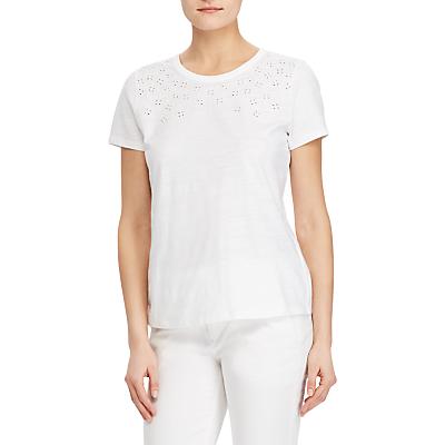 Lauren Ralph Lauren Drevinia Broderie Anglaise T-Shirt, White