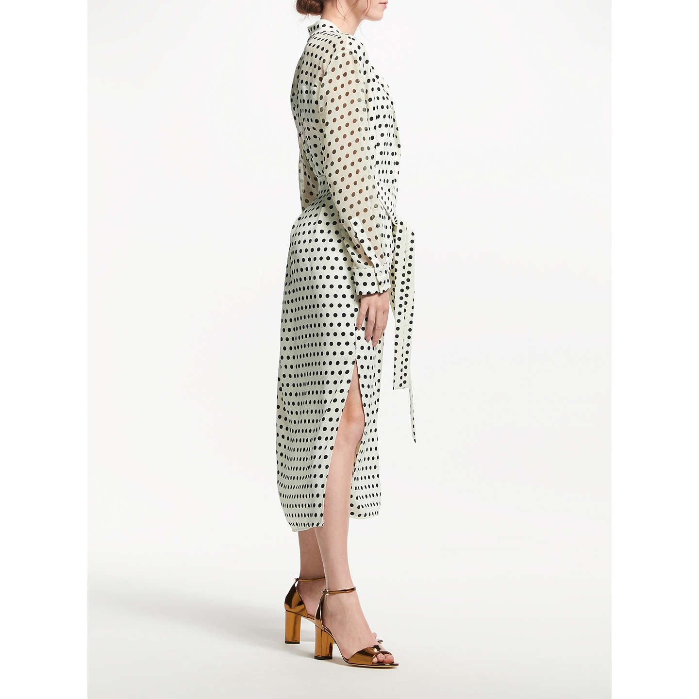BuyMarella Nicolas Spot Print Shirt Dress, Wool White/Black, 12 Online at johnlewis.com