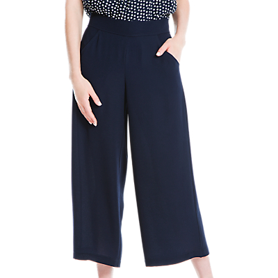 Max Studio Bubble Crepe Wide Leg Cropped Trousers, Navy