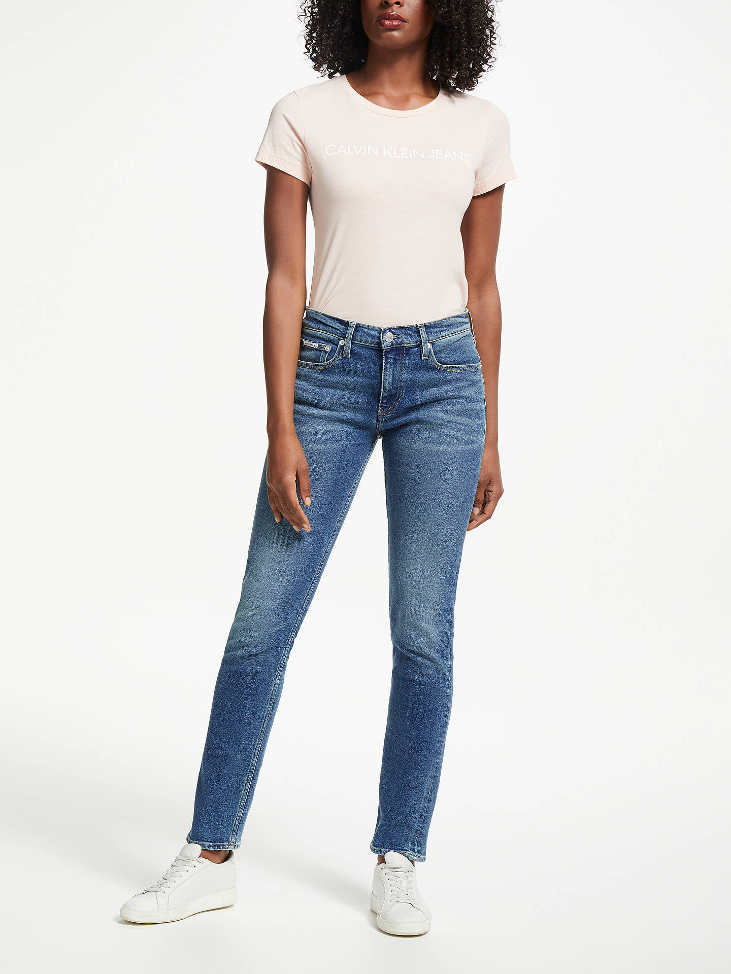 BuyCalvin Klein Mid Rise Slim Jeans, Chico Blue, W27/L30 Online at johnlewis.com