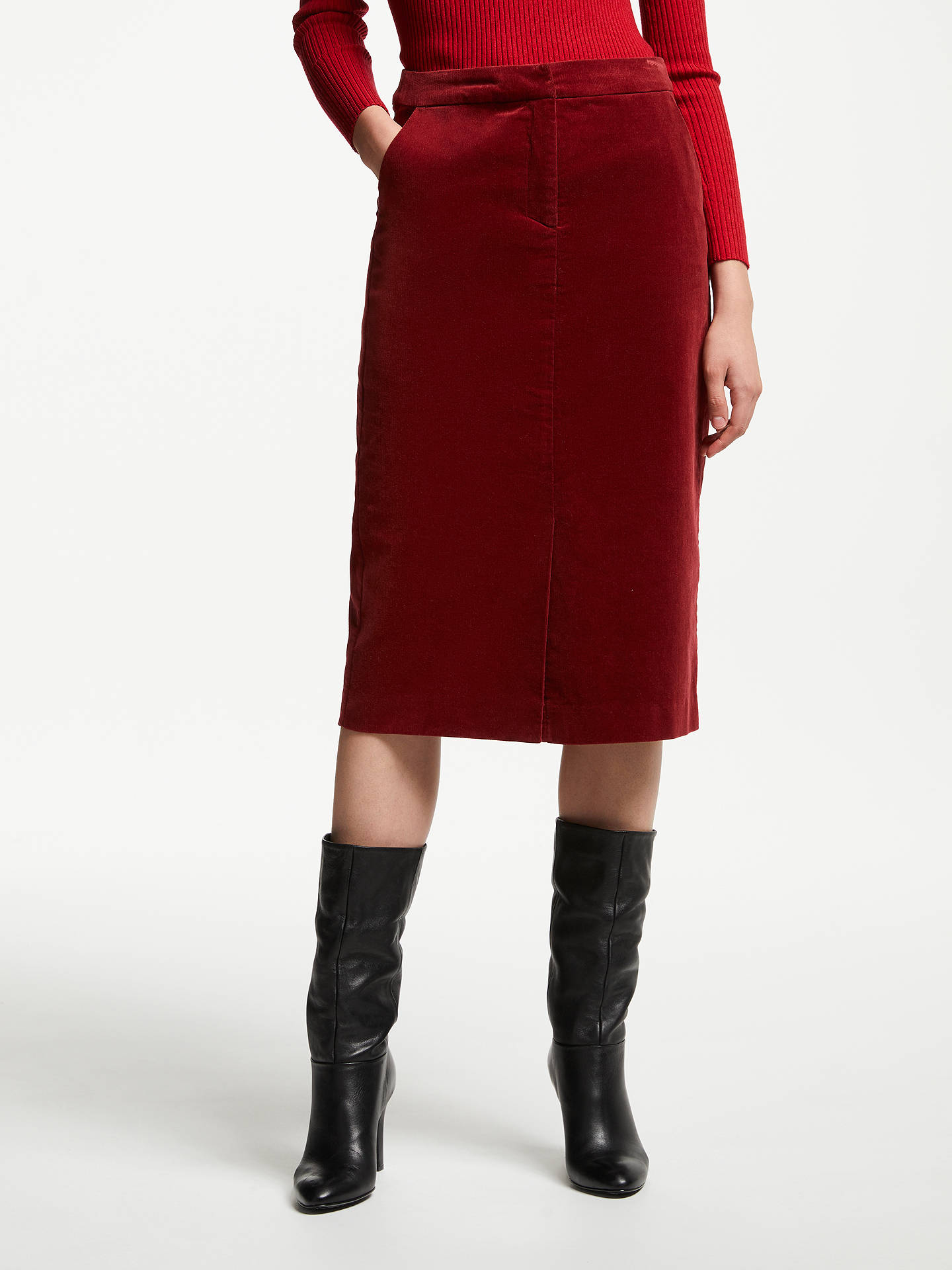 BuyJohn Lewis & Partners Cord Pencil Skirt, Paprika, 8 Online at johnlewis.com