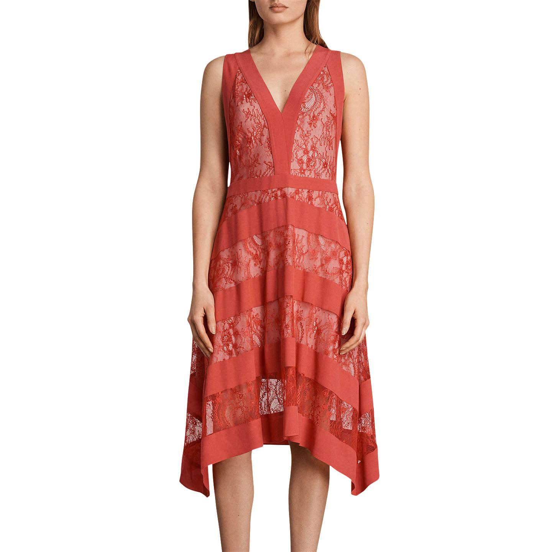 All Saints Gwen Long Dress, Coral Red by Allsaints
