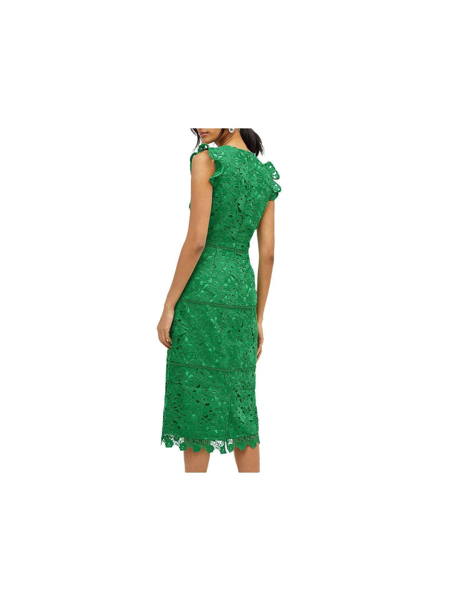 BuyWarehouse Scallop Hem Lace Dress, Green, 6 Online at johnlewis.com