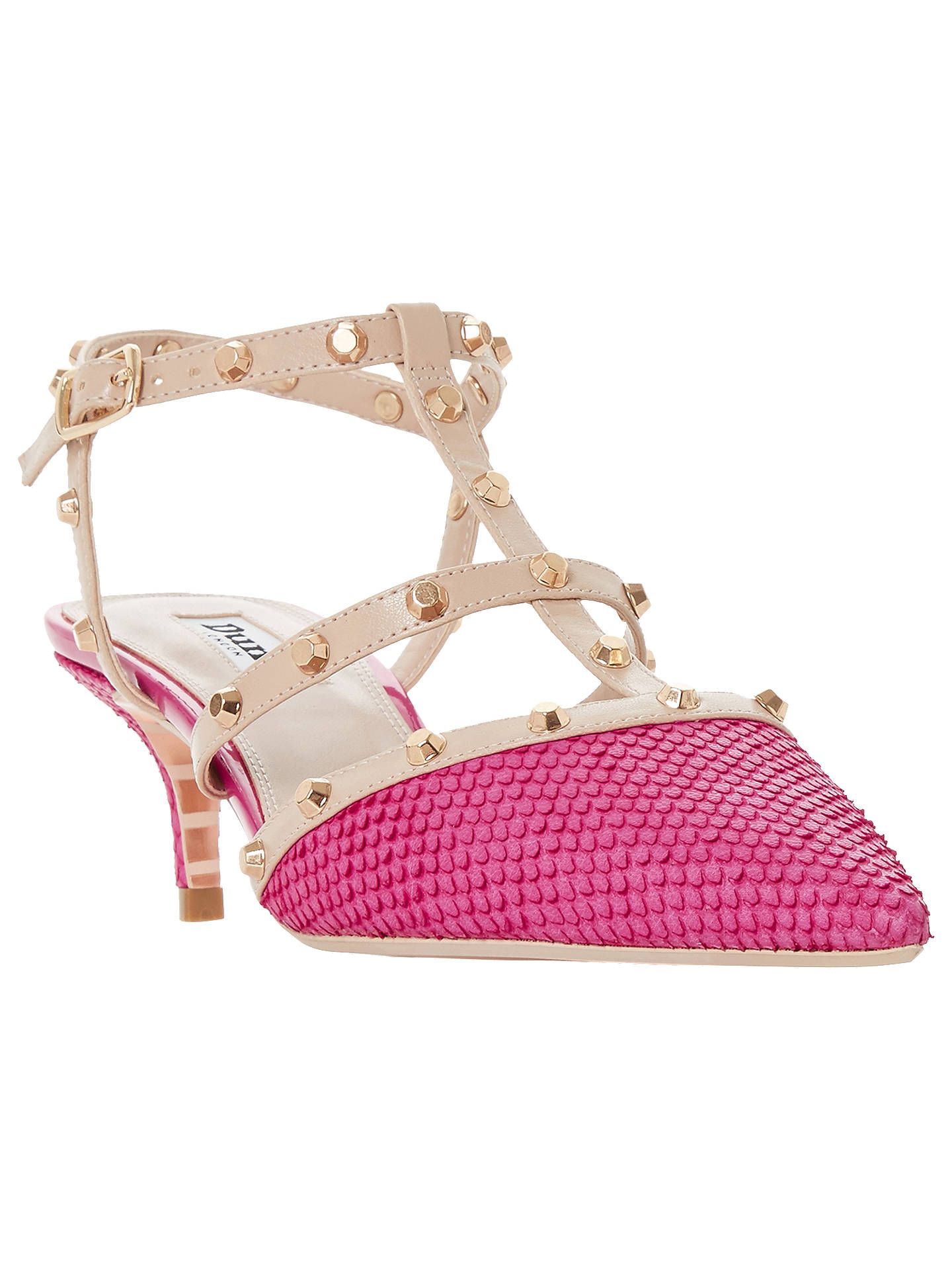 BuyDune Casterly T-Bar Studded Court Shoes, Pink Leather, 3 Online at johnlewis.com