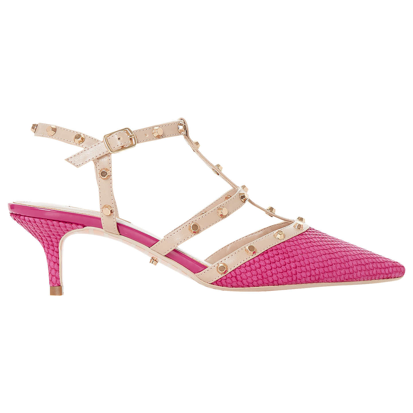 BuyDune Casterly T-Bar Studded Court Shoes, Pink Leather, 4 Online at johnlewis.com