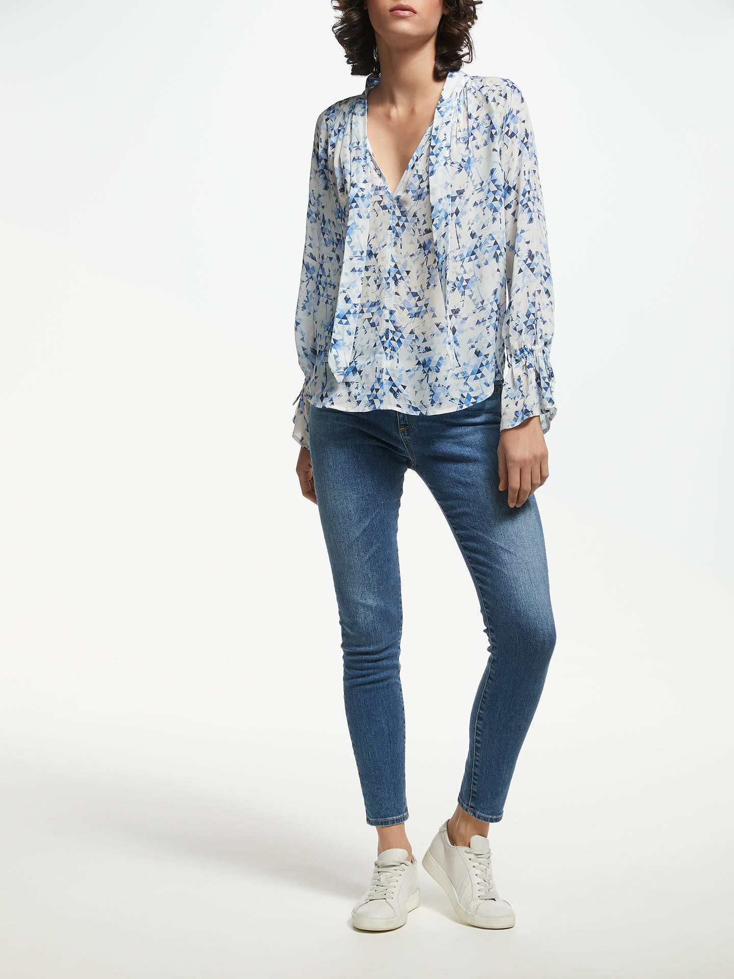 Buy Pyrus Anais Geo Palm Print Blouse, Blue/White, S Online at johnlewis.com