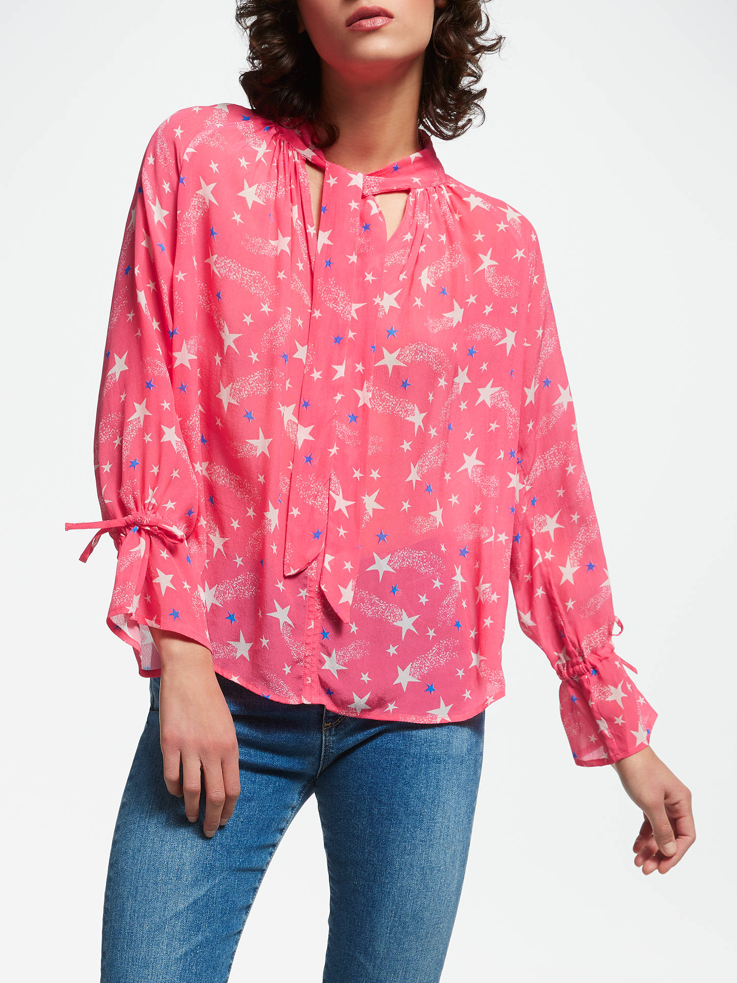 dff07a0abc7037 Buy Pyrus Anais Shooting Star Print Blouse, Pink, XS Online at  johnlewis.com ...