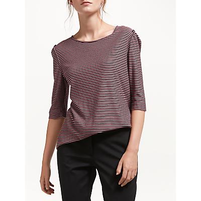 Marella Corozo Fine Stripe Top, Pink/Black