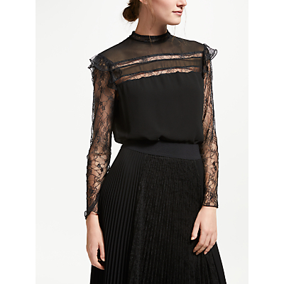 Marella Orlaya Lace Sleeve Top, Black