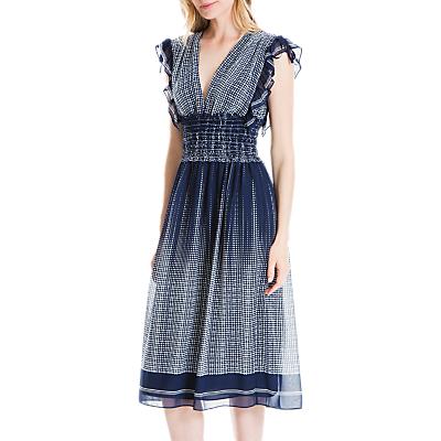 Max Studio Dot Smock Detail Dress, Navy/Cream