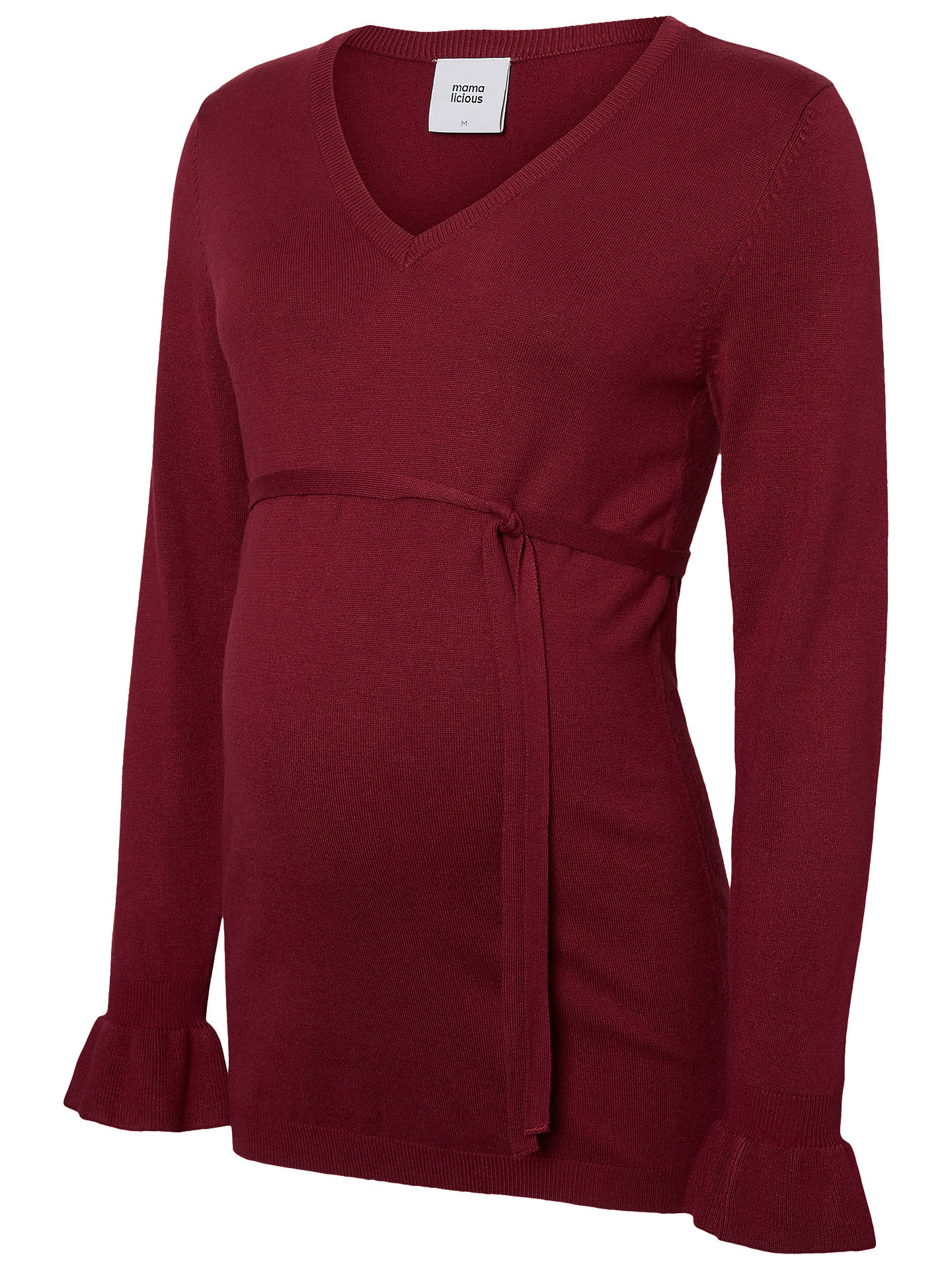 8faa37d6e0be9 ... Buy Mamalicious Tie Waist Knit Maternity Blouse, Red, S Online at  johnlewis.com ...