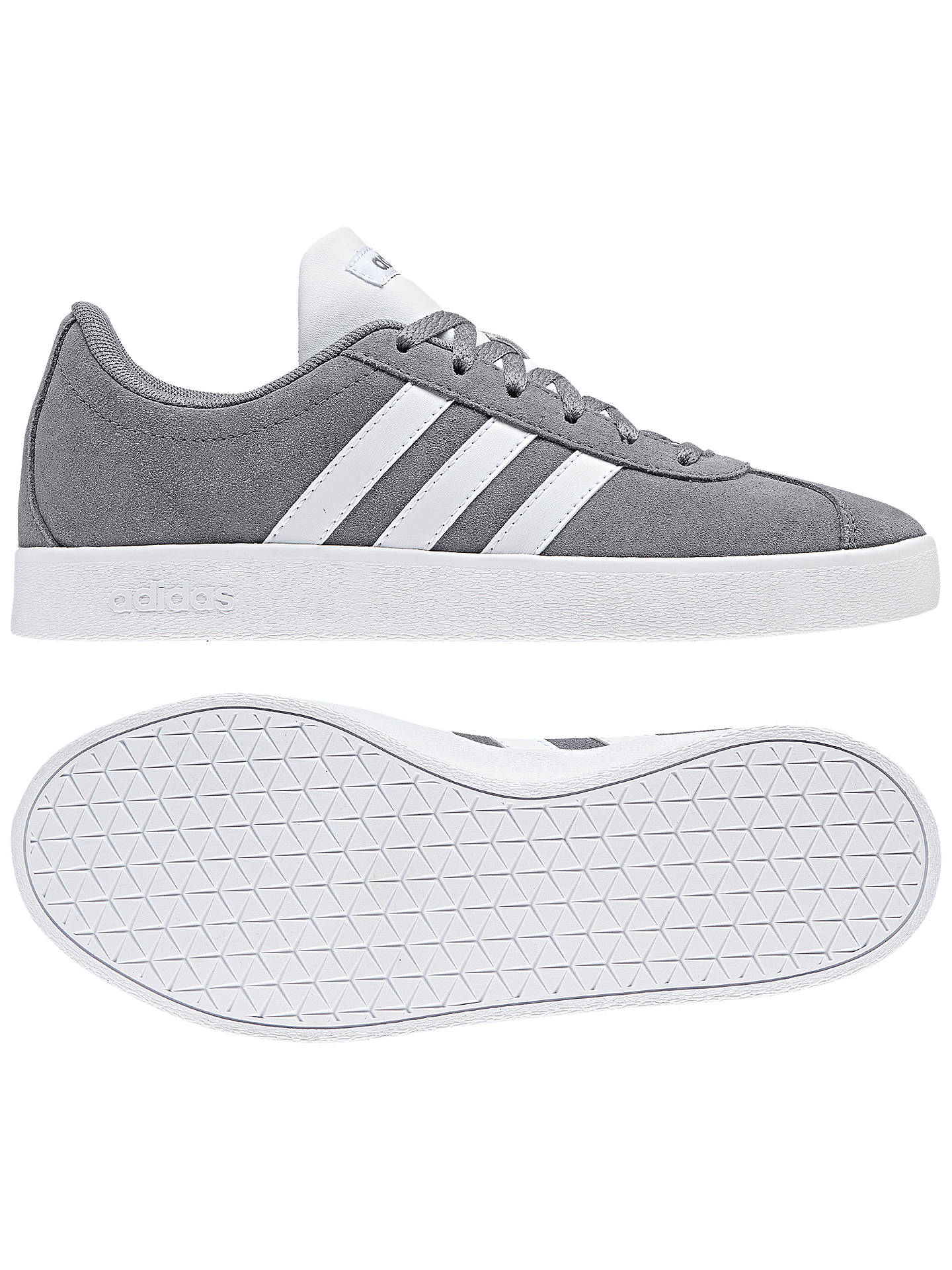 Buy adidas Children's VL Court 2.0 Trainers, Grey, 10 Jnr Online at johnlewis.com