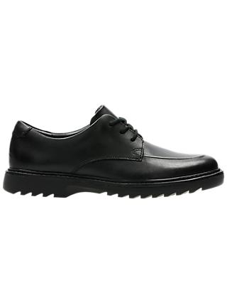 Clarks Children's Asher Grove Lace Up School Shoes, Black Leather