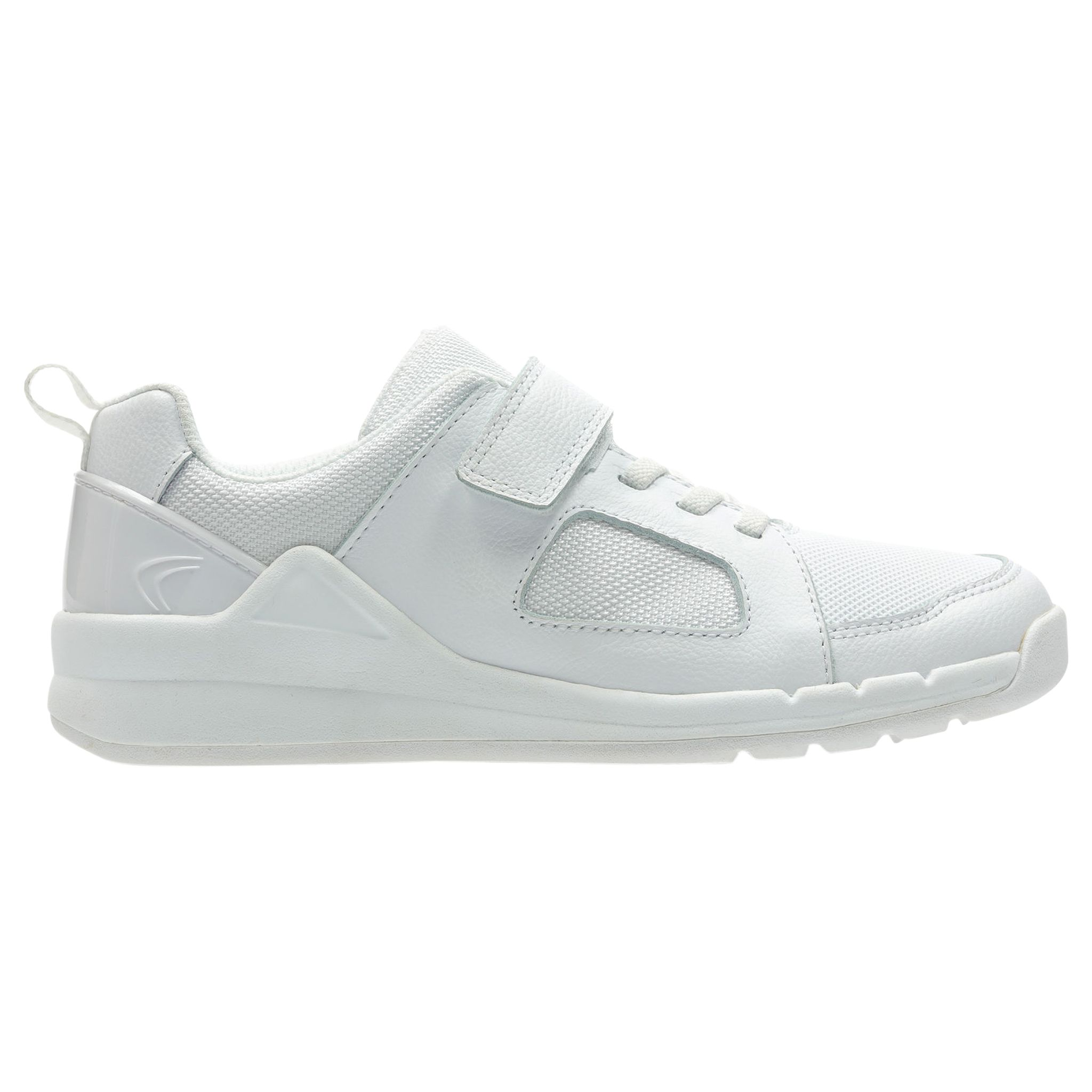 Clarks Orbit Ride Kids White Leather Infant Sports Trainers