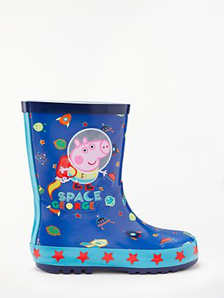 Peppa Pig George's Space Children's Wellington Boots, Blue