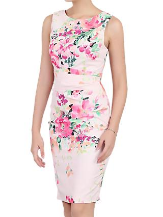 Jolie Moi Floral Sleeveless Ruched Dress, Pink/Multi