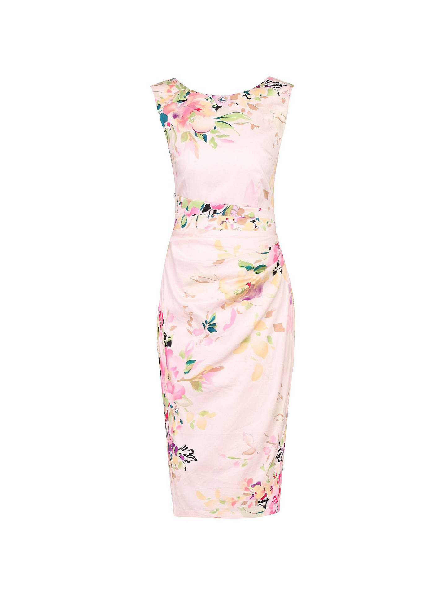 e283df80 ... Buy Jolie Moi Floral Sleeveless Ruched Dress, Light Pink/Multi, 6  Online at ...
