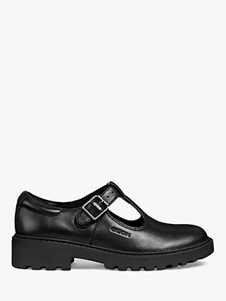Geox Children's Casey G T-Bar School Shoes, Black