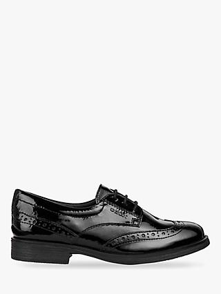 Geox Children's Agata Lace-Up Brogue, Black Patent