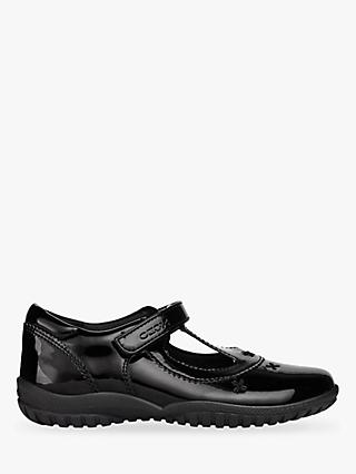 Geox Children's J Shadow T-Bar School Shoes, Black Patent