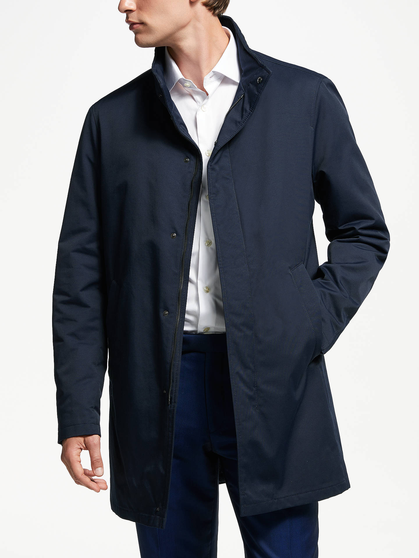 BuyBugatti Water Repellent Funnel Neck Coat, Navy, 44R Online at johnlewis.com